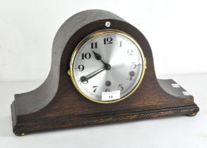 An early 20th century oak cased 1930's mantle clock, marked to movement Fontenoy Made in France,