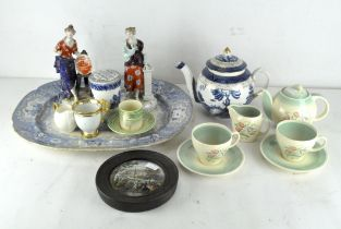A selection of assorted ceramics, including a 19th century pot lid and small Susie Cooper tea set,