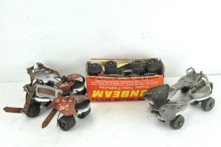 Three pairs of vintage roller skates, including a pair by Jaco and another by Sunbeam,
