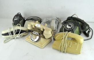 A collection of vintage telephones,