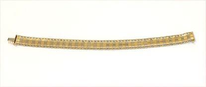 14 k Gelb- und Weißgold Armband, teils mattiert, L 19,5 cm, 13,3 gr.