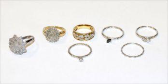Konvolut von 5 Silber Ringen und 2 Silber/vergoldete Ringe, diverse Größen