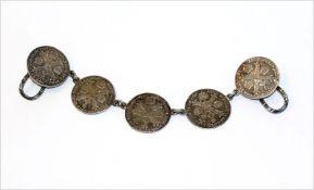 Silber Rockstecker aus 5 Münzen, 48 gr., B 18 cm