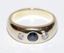 14 k Gelbgold Bandring mit Safir und 2 Diamanten, 5,3 gr., Gr. 48