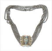 Silber Kropfkette, Schließe mit filigraner Verzierung und hellblauen Türkiskugeln, 5-reihig, 44,5 gr