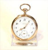 14 k Rosegold Taschenuhr, Deutsche Uhrenfabrikation Glashütte SA/1, A. Lange & Söhne, intakt, 81