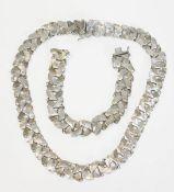 835 Silber Schmuckset, Kette, L 40 cm, und Armband, L 18 cm, 61 gr.