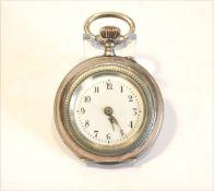 Silber Damen-Taschenuhr, rückseitig fein graviert, intakt, D 3 cm
