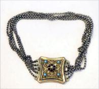 Silber Kropfkette, 5-reihig, Schließe mit filigraner Verzierung und Steinbesatz, L 30 cm