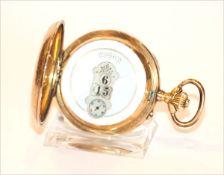 14 k Gelbgold Sprungdeckel Taschenuhr, 3 Deckel Gold, sehr interessantes Uhrwerk, Unruhe Stift