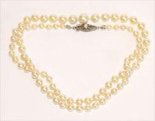 Perlenkette in Verlaufform mit 8 k Schließe, L 54 cm