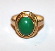18 k Gelbgold Ring mit Türkis, 5,1 gr., Gr. 53