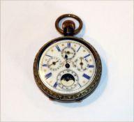 Taschenuhr um 1910, mit Mondphase, Monat, Tag und Datum, Minutenzeiger fehlt, intakt, D 5 cm,