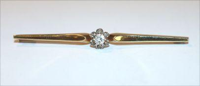 14 k Gelbgold Nadel mit in Weißgold gefaßten Diamanten, ca. 0,22 ct., 3,4 gr., B 6 cm