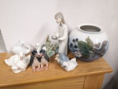 """Three Lladro porcelain ornaments, a 6"""" high Royal Copenhagen vase and three other pieces. (7)"""