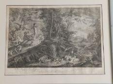 Johann Elias Ridinger (1698-1767) - Four black & white engravings from the Paradise set depicting