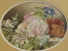 Late 19th/Early 20thC School - oval watercolour - Still life study of flowers and fruit on a ledge