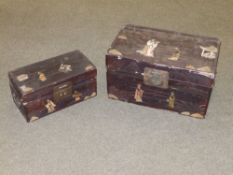 Two Chinese inlaid wood boxes, having shallow carved decoration and crude inlay, red painted