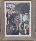 Impressionist School - oil on board - Study of a young woman holding a parasol, in shades of brown &