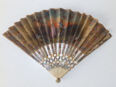 """An 18thC French painted ivory & silk fan, 10.25"""" in an Ernest Kees box."""