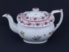 A New Hall porcelain teapot & cover in London shape painted with floral sprigs in rust red, pink &