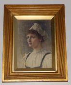 Robert Edward Morrison (1852-1925) - watercolour - Portrait of a girl in white cap, head &