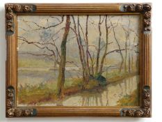 E Calberg - oil on canvas - Trees lining a river bank, signed - inscribed & dated verso, 17-2-24,