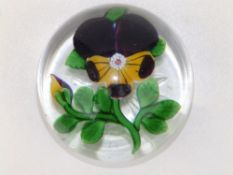 """A Clichy pansy paperweight, decorated in purple, yellow, white & green, with star cut base, 3"""""""