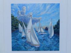 John Gillo (born 1948) - acrylics on board - Yachts on the mouth of the Dart, signed & dated 2015,