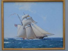 Stephen J. Card (born 1952) - oil on board - A sailing ship flying the white ensign in a stiff
