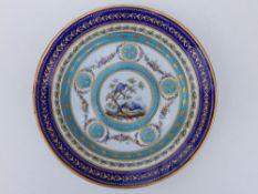 A 19thC Sevres porcelain cabinet plate in the neoclassical style, painted in polychrome with a