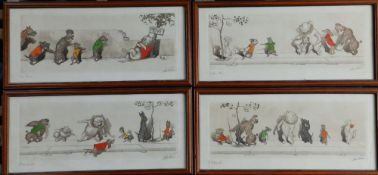 """A set of four signed French coloured humorous caricature prints depicting dogs, 6"""" x 17""""."""
