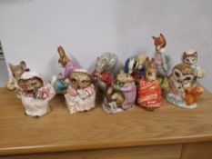Nine Beswick Beatrix Potter figures with brown backstamps together with two other damaged
