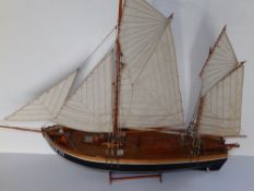 A 20thC wooden model of a small German fishing boat - 'Fishing Ever', used on the River Elbe, hull