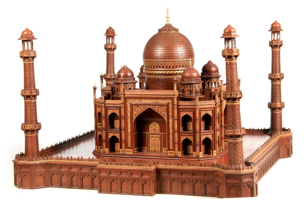 """A large wooden model of the Taj Mahal, Width 45"""", Height 32"""". Viewing by prior arrangement."""