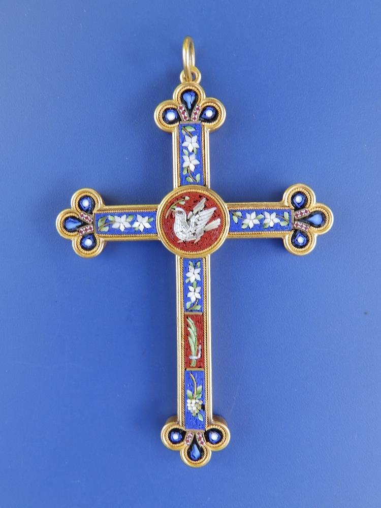 """A late 19thC Italian micromosaic gold pendant cross inlaid with a dove and flowers, 2.8""""."""