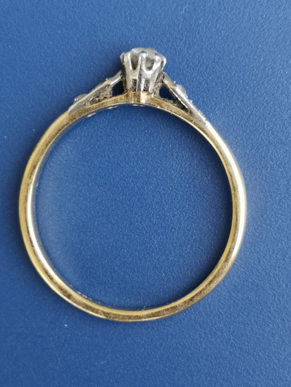 A small old cut diamond solitaire ring, diamonds to shoulders, on 18ct gold shank. Finger size P. - Image 2 of 2
