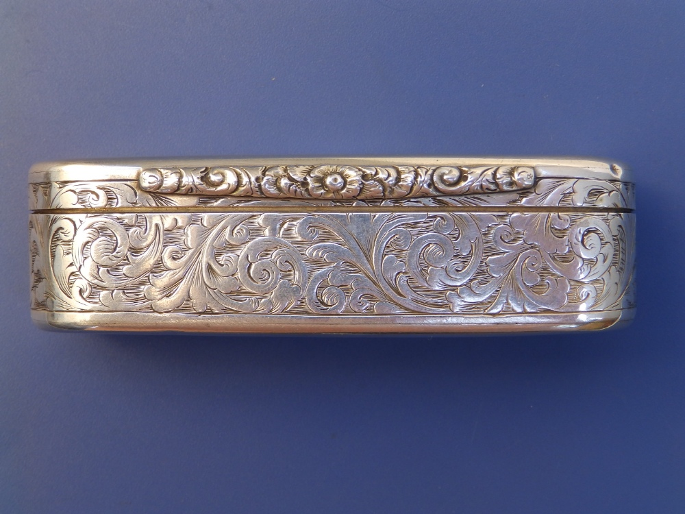 A Victorian crested silver snuff box with overall arabesque leaf scroll engraved decoration, gilt - Image 4 of 6