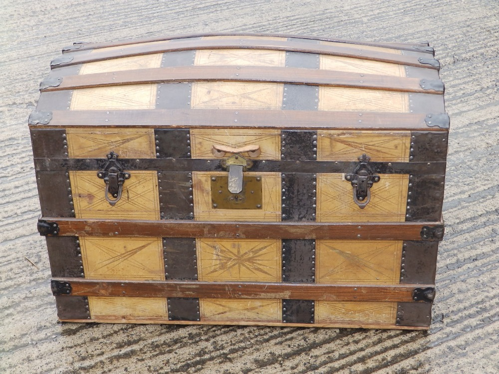 """A domed wooden bound cabin trunk with paper lined interior compartments, 32"""" across. - Image 2 of 10"""