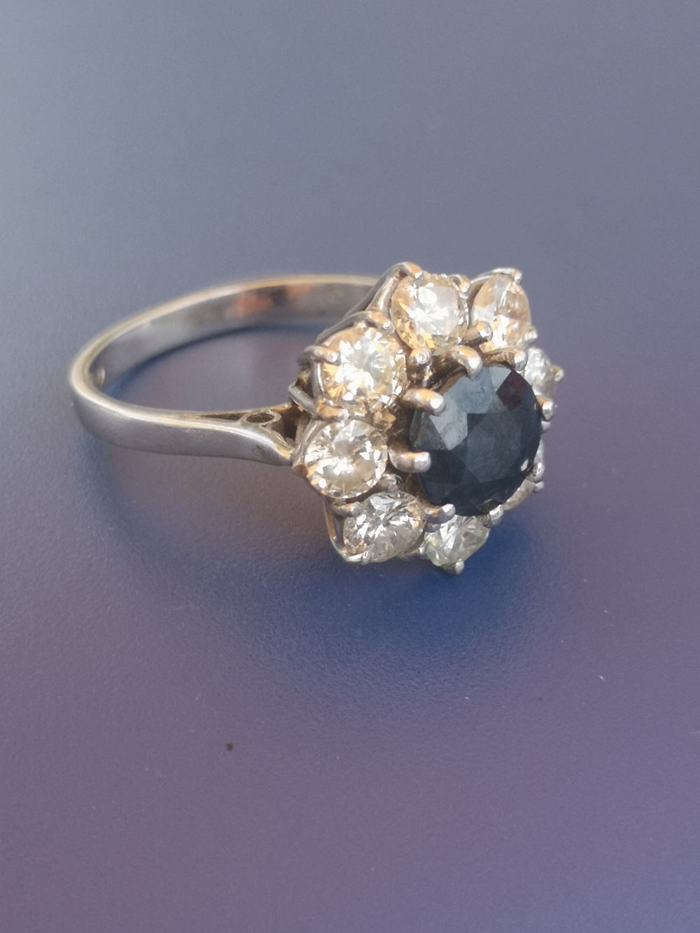 A modern sapphire & diamond 18ct white gold cluster ring - London marks. Finger size L. - Image 4 of 4