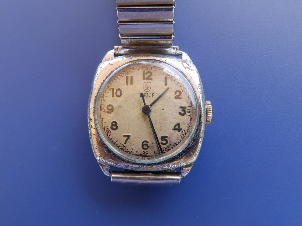 A Tudor stainless steel wrist watch, with centre seconds, 24mm dial - a/f
