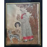 A Regency silk embroidery depicting a woman carrying a jug, with dog and child at her side,