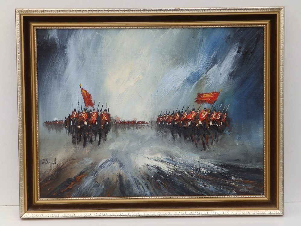 """John Bampfield - oil on canvas - Two advancing lines of cavalry, signed, 11.5"""" x 15.5""""."""