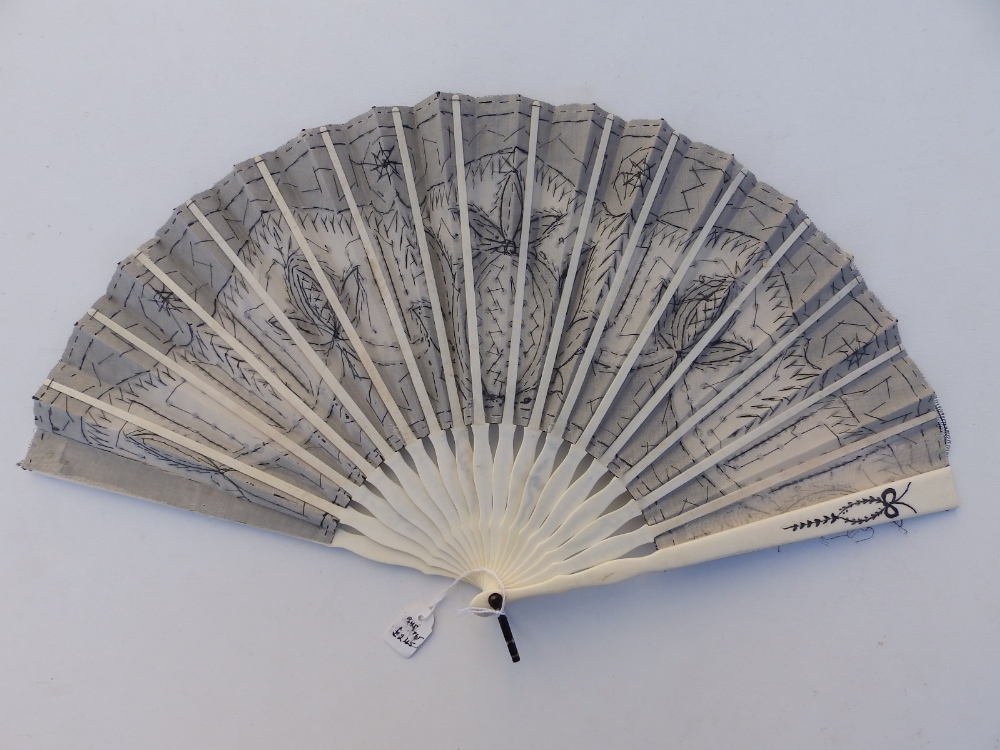 A 19thC ivory fan, the cream silk leaf decorated in black lace with sequins, an openwork monogrammed - Image 3 of 5