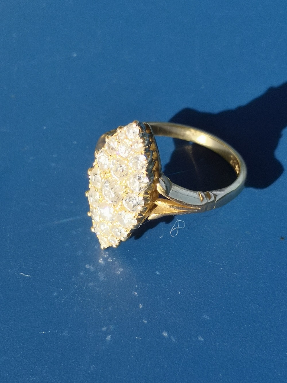 A marquise pave set diamond ring in '18ct' gold. Finger size P. - Image 2 of 3