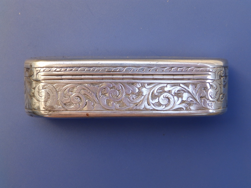 A Victorian crested silver snuff box with overall arabesque leaf scroll engraved decoration, gilt - Image 3 of 6