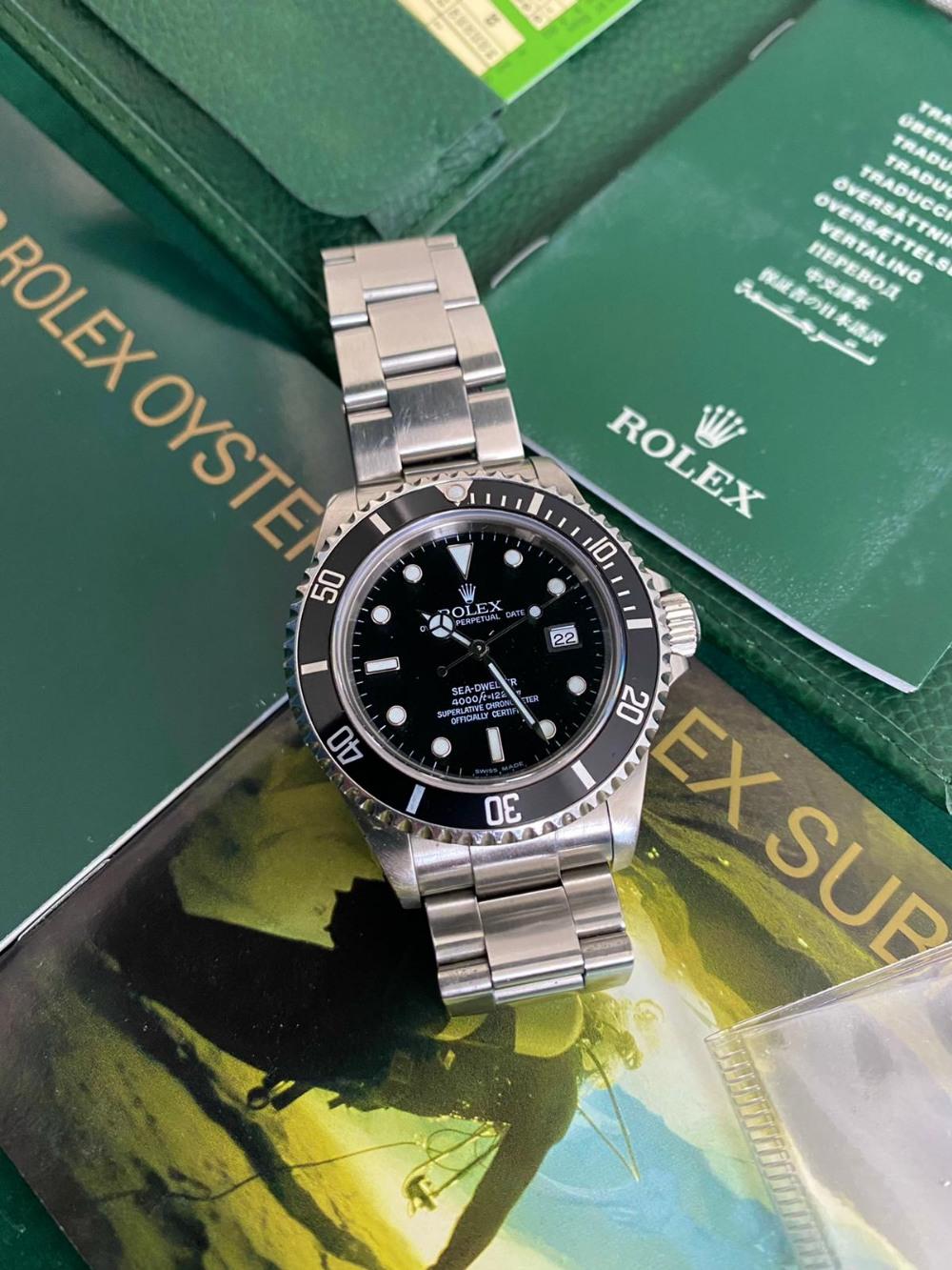 A gent's stainless steel Rolex Oyster Perpetual Date Sea-Dweller bracelet wrist watch, 2004 F Series