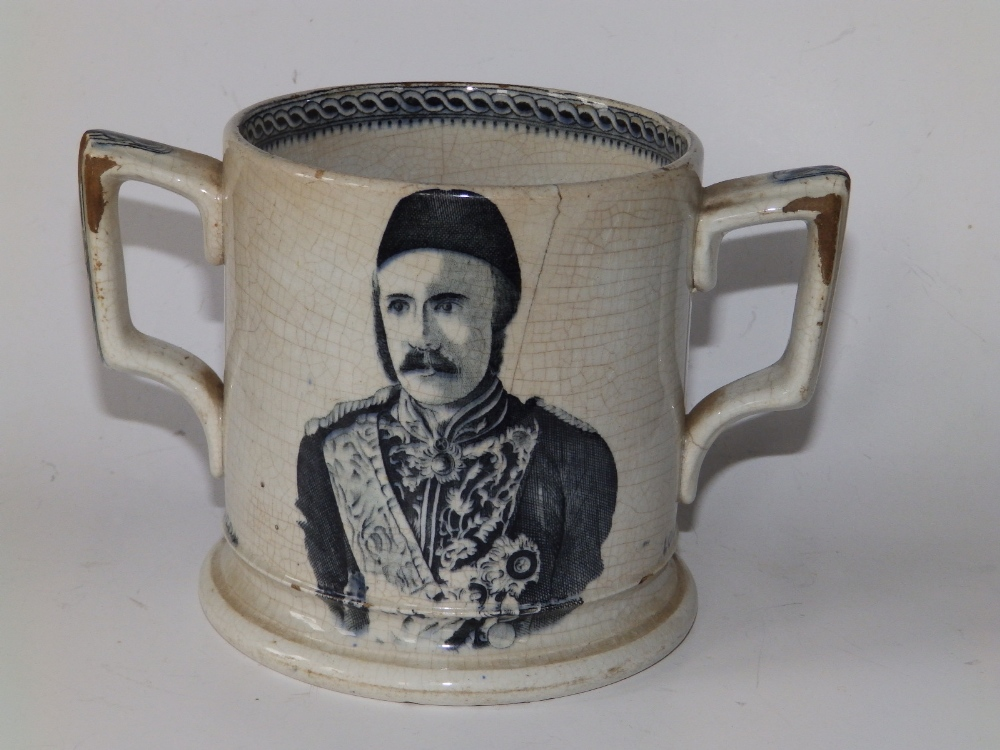 """A Victorian black & white printed earthenware loving cup - 'Lord Wolseley, General Gordon', 6.5"""" - Image 2 of 4"""