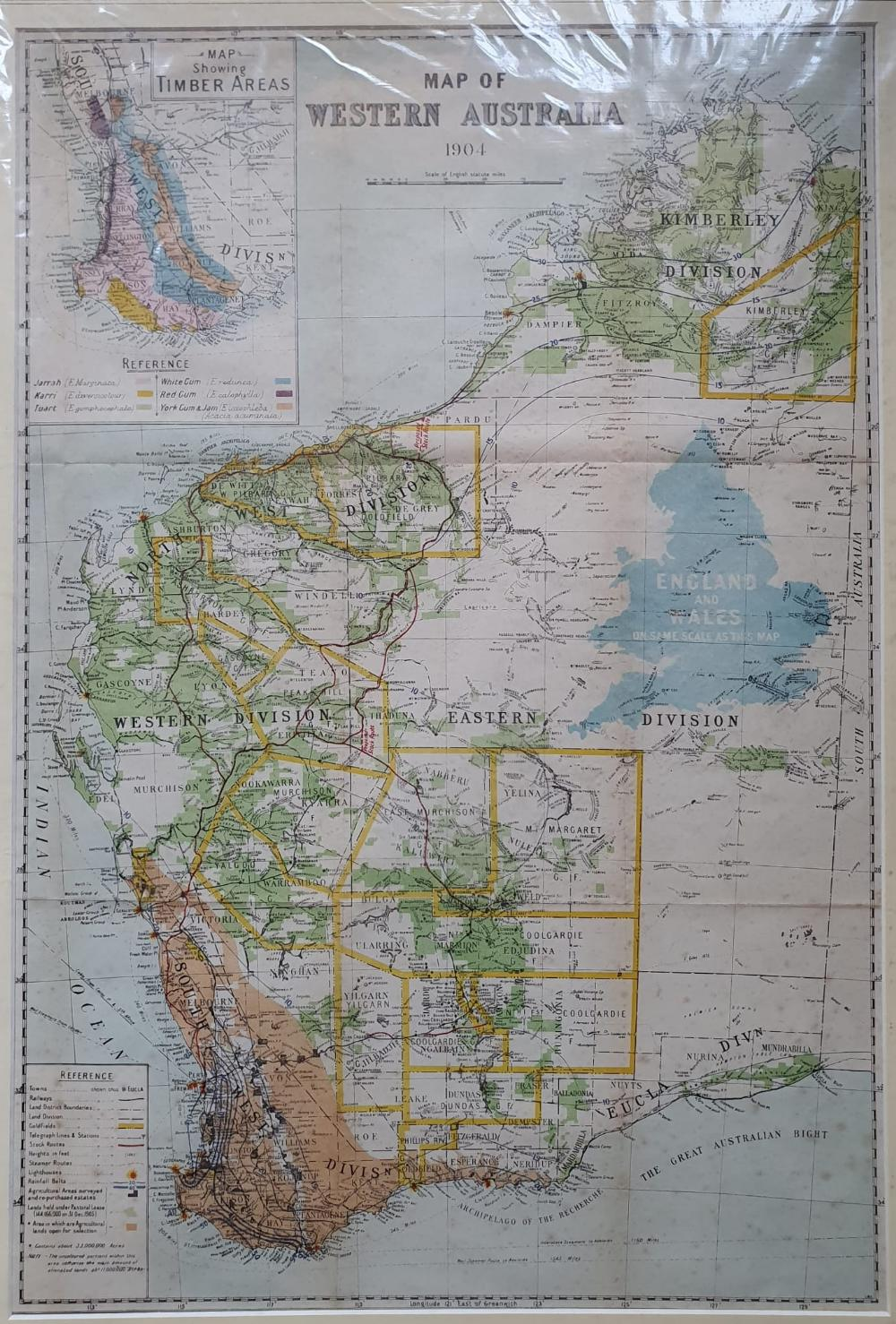 """An early 20thC map of Western Australia, dated '1904', 21.5"""" x 14.4"""" and a smaller 1914 map of WA by - Image 5 of 6"""