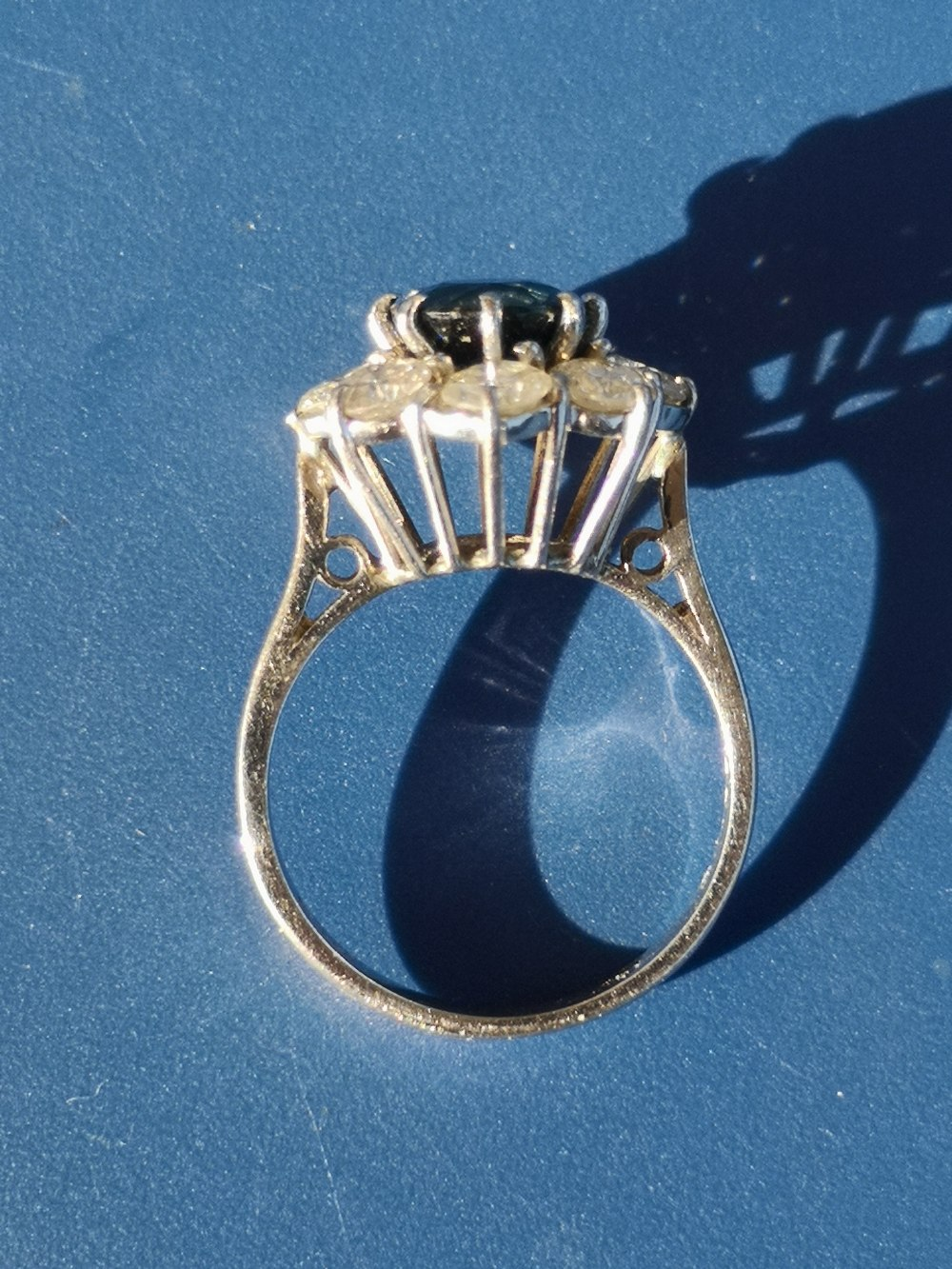 A modern sapphire & diamond 18ct white gold cluster ring - London marks. Finger size L. - Image 2 of 4
